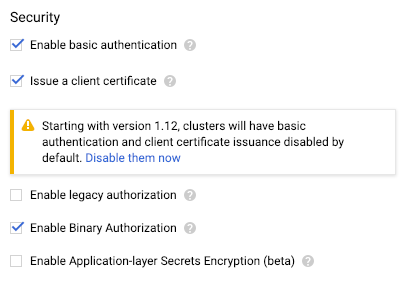 Enable Binary Authorization option