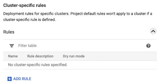 Captura de pantalla de la configuración de reglas específicas del clúster
