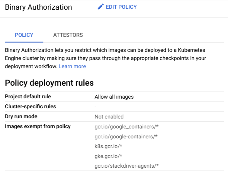 Screenshot of policy tab showing default rule