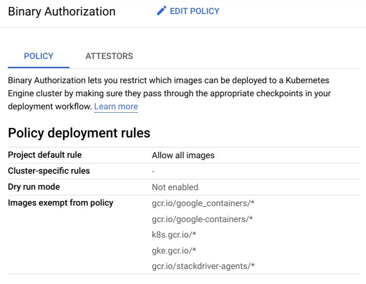 Screenshot of policy tab showing default rule