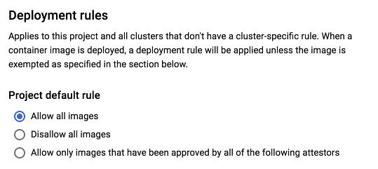 デフォルト ルールのタイプを選択するオプションのスクリーンショット