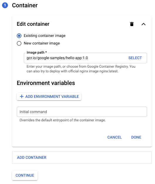 Captura de pantalla de la página Crear implementación