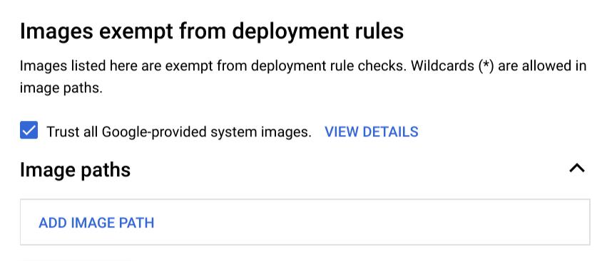 Captura de pantalla de la lista de imágenes exentas