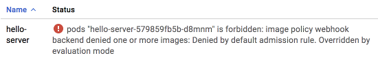 Captura de tela de uma mensagem de implantação com falha