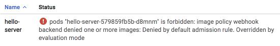 Screenshot of a failed deployment message