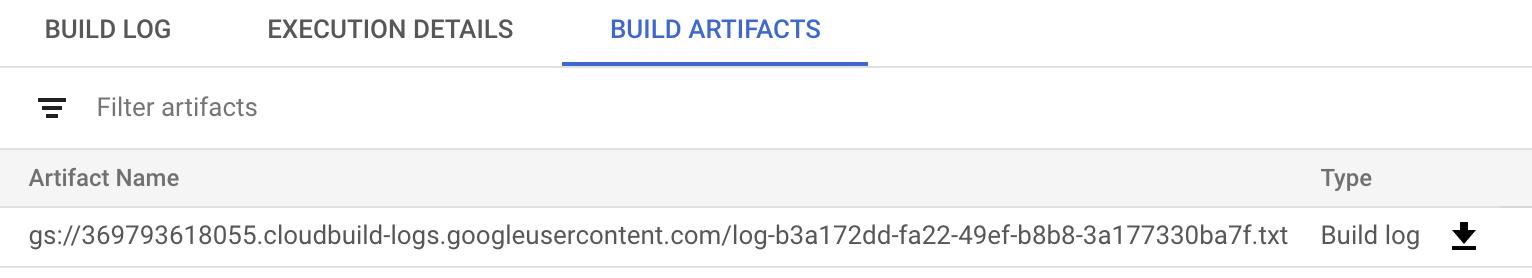Captura de tela dos artefatos da build