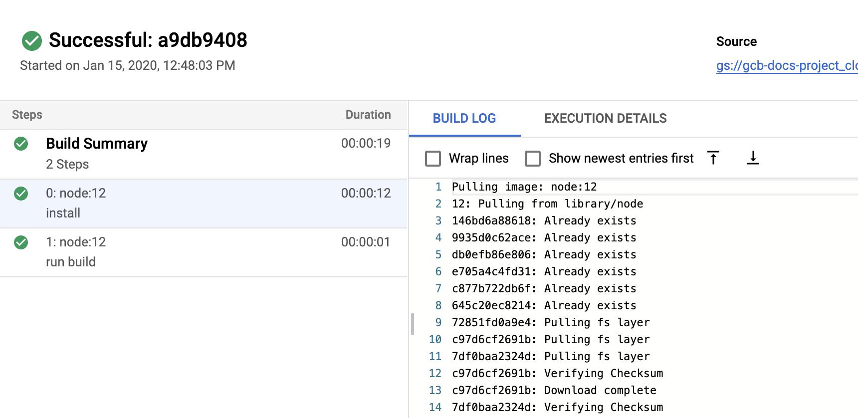 Captura de pantalla de los registros de compilación en la página de detalles de compilación