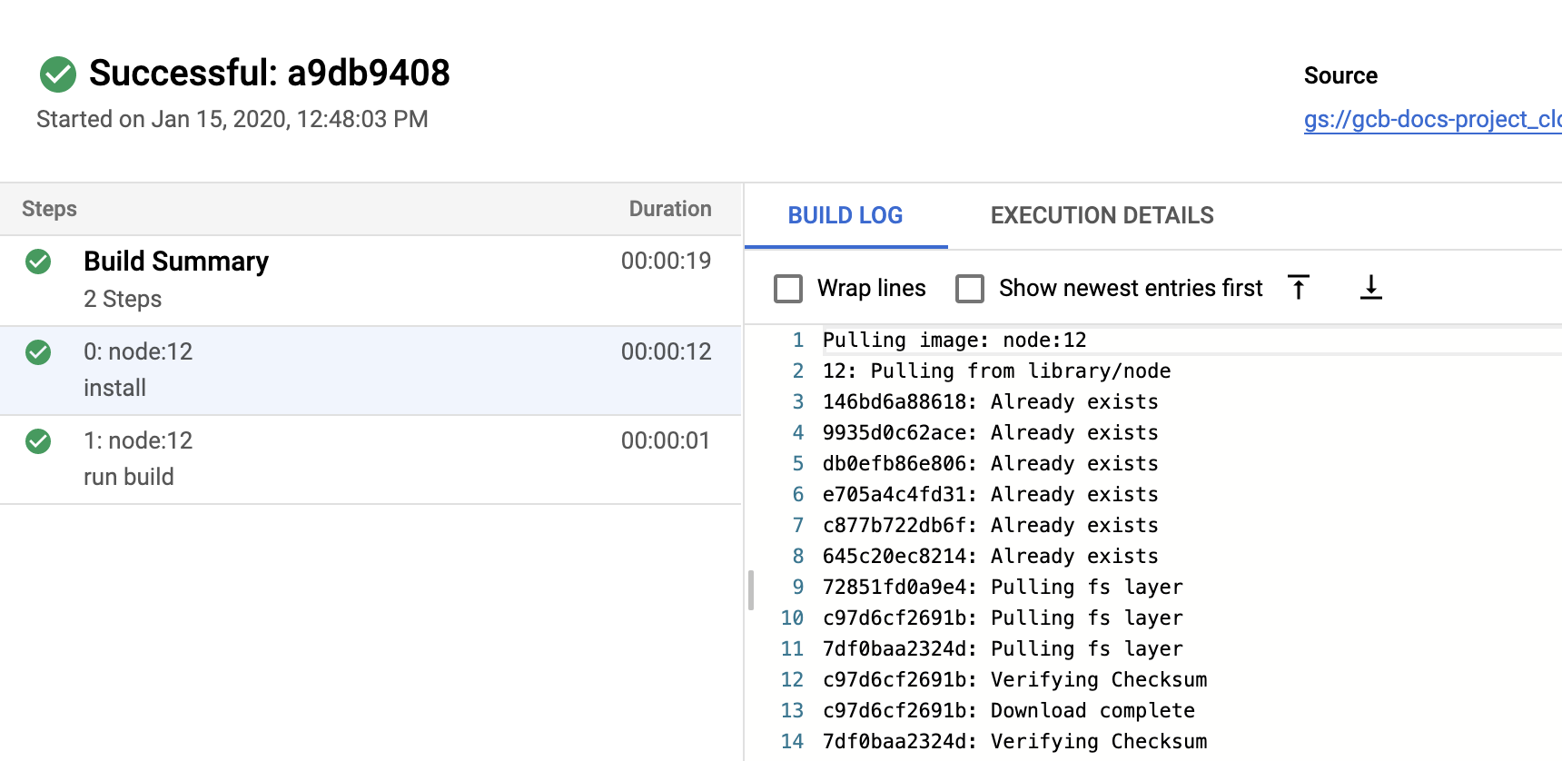 Screenshot of build logs in the Build details page