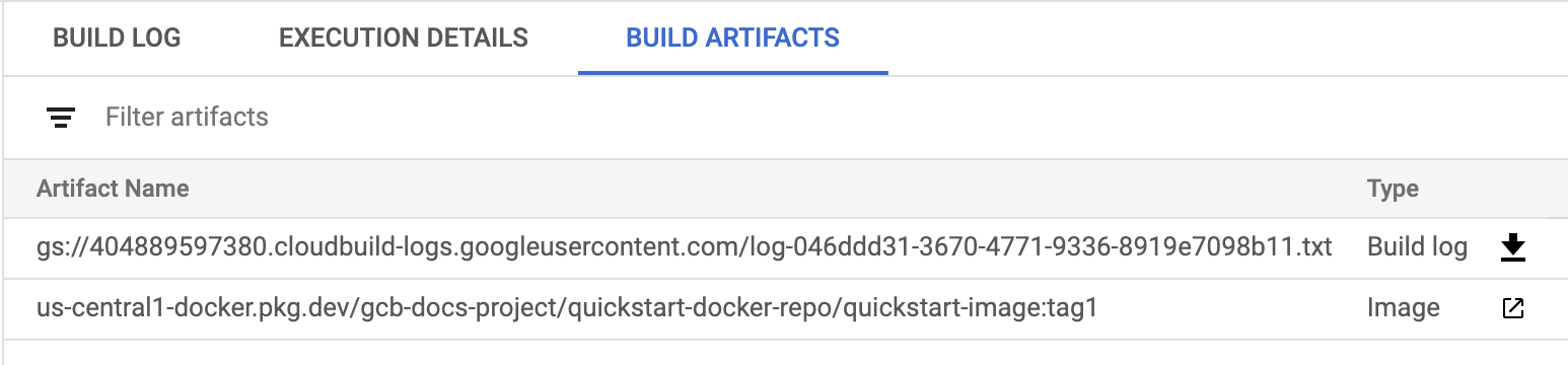 Captura de pantalla de artefactos de compilación