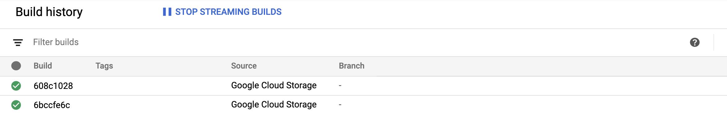 Captura de pantalla de la página historial de compilación