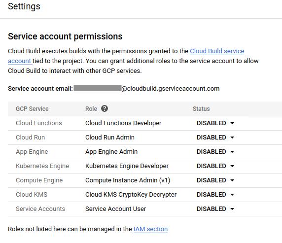 Captura de pantalla de la página Permisos de la cuenta de servicio