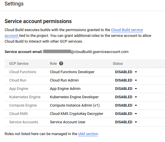 Captura de tela da página de permissões da conta de serviço