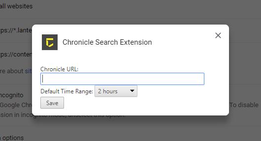 Configuração da extensão de pesquisa do Chrome