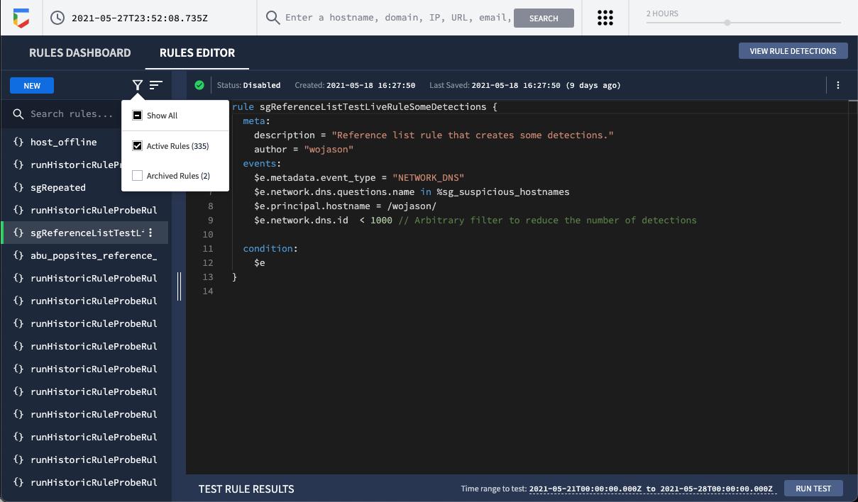 Archive pop-up menu