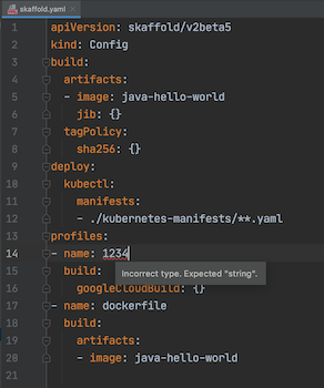 """Valor do campo de nome sublinhado em vermelho para destacar um valor inválido de """"1234"""". Estados de texto ao passar o cursor: """"Tipo incorreto. String esperada."""""""