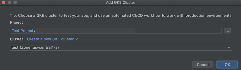 Adding a GKE cluster with Kubernetes Explorer dialog with fields for project and cluster names