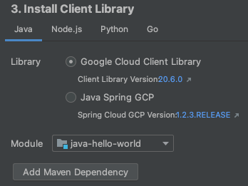 Screenshot showing the Manage Google Cloud APIs dialog. This           dialog lets you select a module to add the libraries to,           displays the list of APIs available to add, and provides a work area           that displays information about each API.