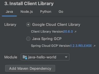 Captura de pantalla que muestra el cuadro de diálogo Agregar bibliotecas de Cloud En el cuadro de diálogo se muestra un menú desplegable para seleccionar el módulo al que se agregarán las bibliotecas, además de una lista de lasAPI disponibles que se pueden agregar, y se ofrece un área de trabajo en la que se muestra información sobre laAPI.