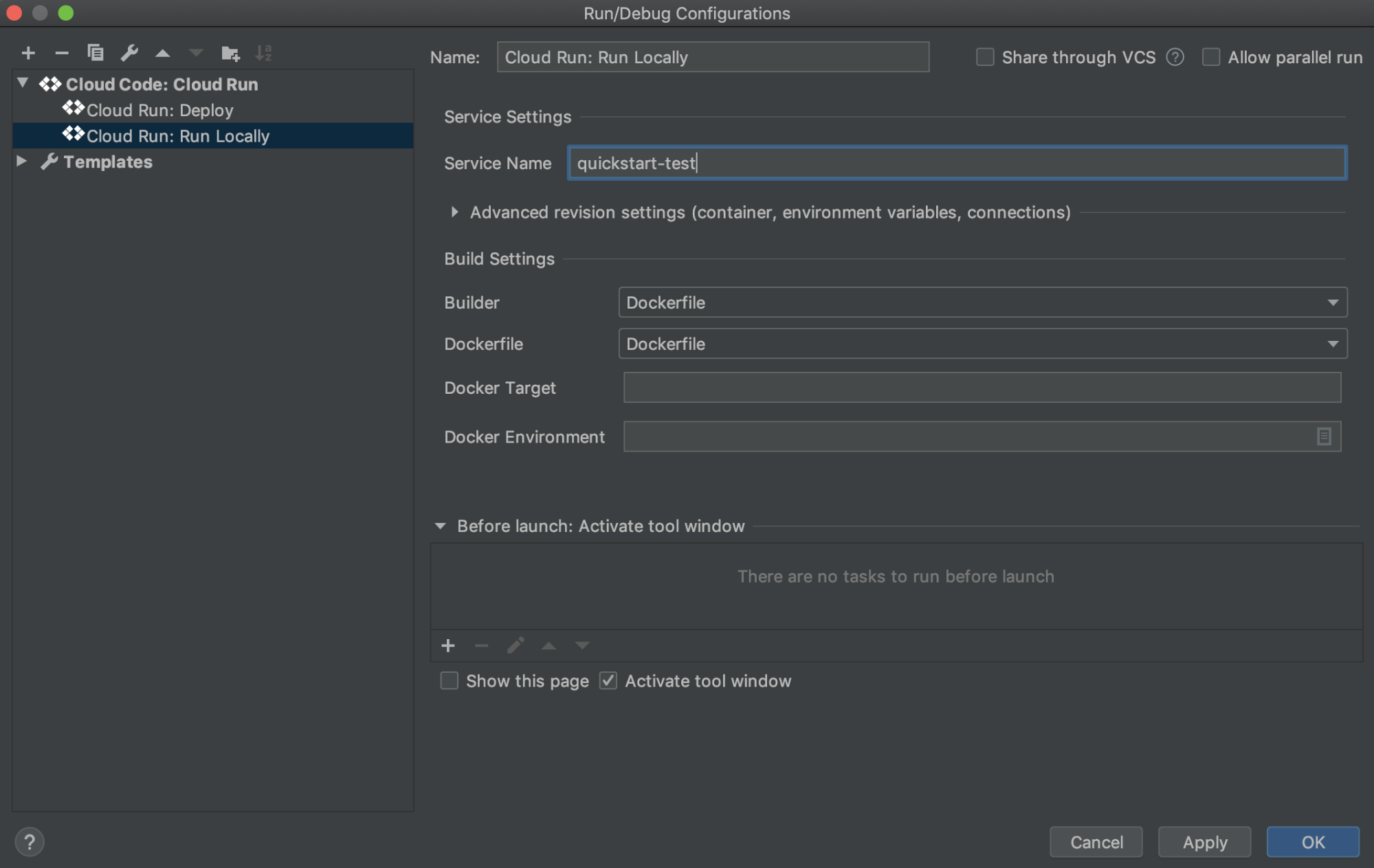 Cloud Run: Lokales Konfigurationsfenster ausführen