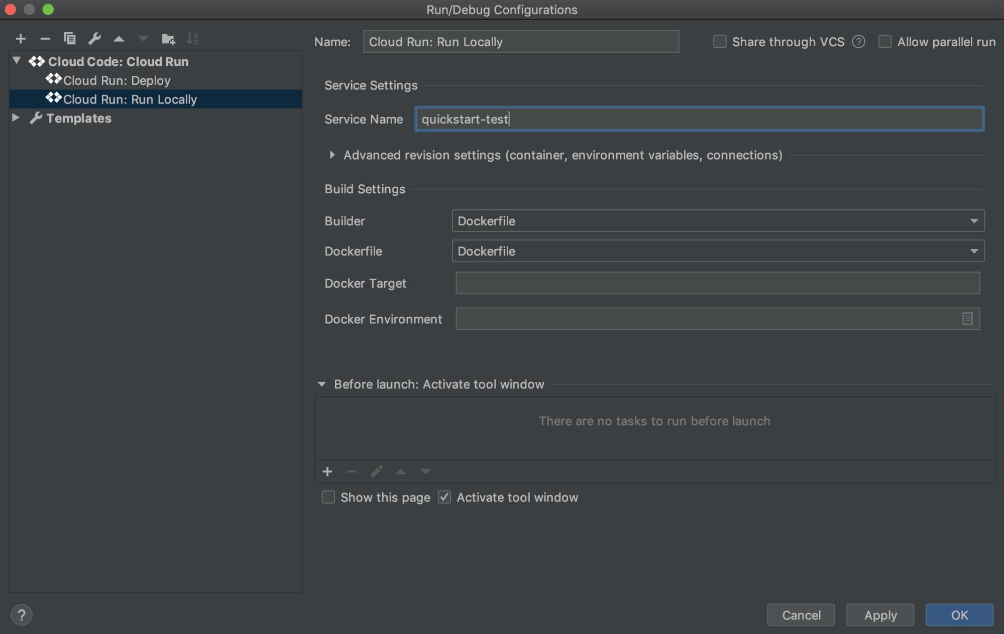 Ventana de configuración de CloudRun: Run locally