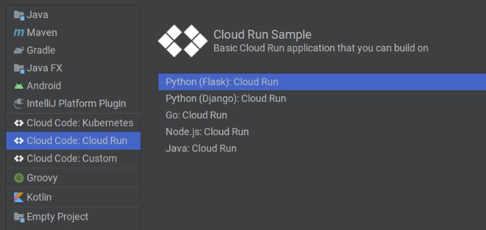 Création d'une application à partir d'une liste d'exemples d'applications