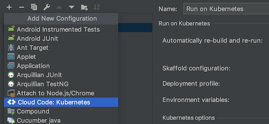Cloud Code: opção do Kubernetes no menu