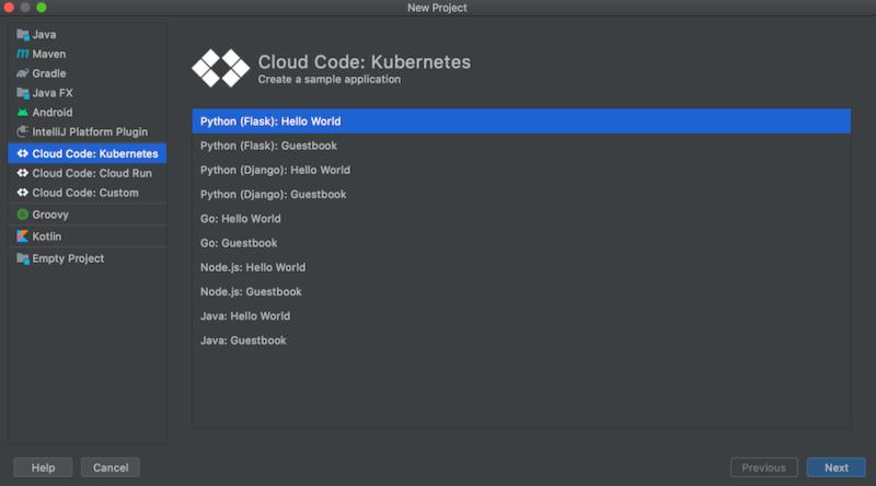 """Liste der verfügbaren Vorlagen: """"Hello World""""- und Gästebuchanwendungen in Python, Go, Node.js und Java"""