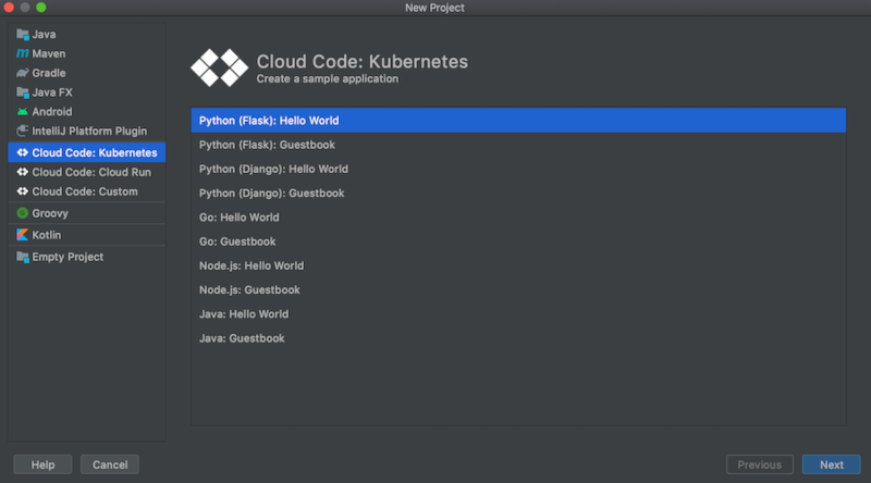 Lista de plantillas disponibles: Python, Go, NodeJS, aplicaciones del libro de visitas de HelloWorld de Java