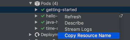 Copia el nombre de un recurso mediante el menú que aparece cuando se hace clic con el botón derecho