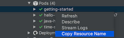 Copying a resource name using its right-click menu