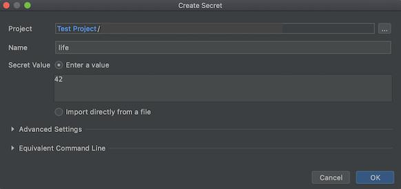 """A caixa de diálogo """"Criar secret"""" é aberta com o campo """"Name"""" preenchido como """"life"""" e o """"Secret Value"""" preenchido como """"42""""."""