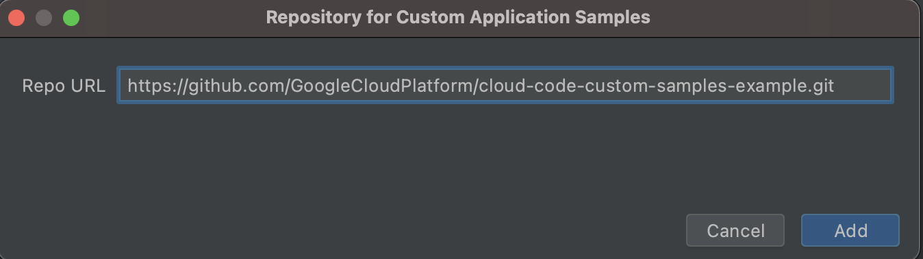 URL Git renseignée au format HTTPS: https://github.com/GoogleCloudPlatform/cloud-code-samples.git