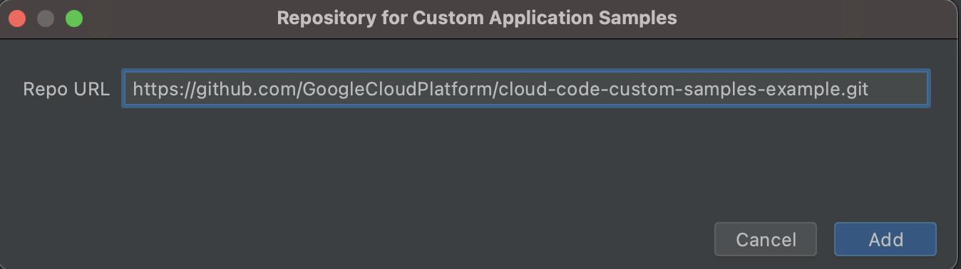 URL do Git preenchido com o URL do formato HTTPS: https://github.com/GoogleCloudPlatform/cloud-code-samples.git