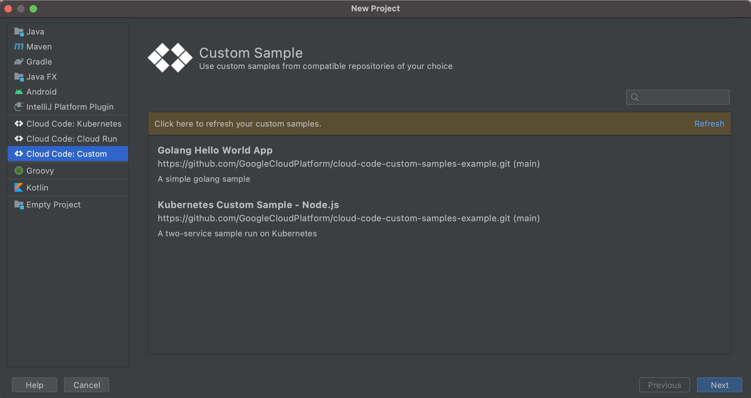 Lista de muestras personalizadas disponibles cuando se crea una nueva app de CloudCode