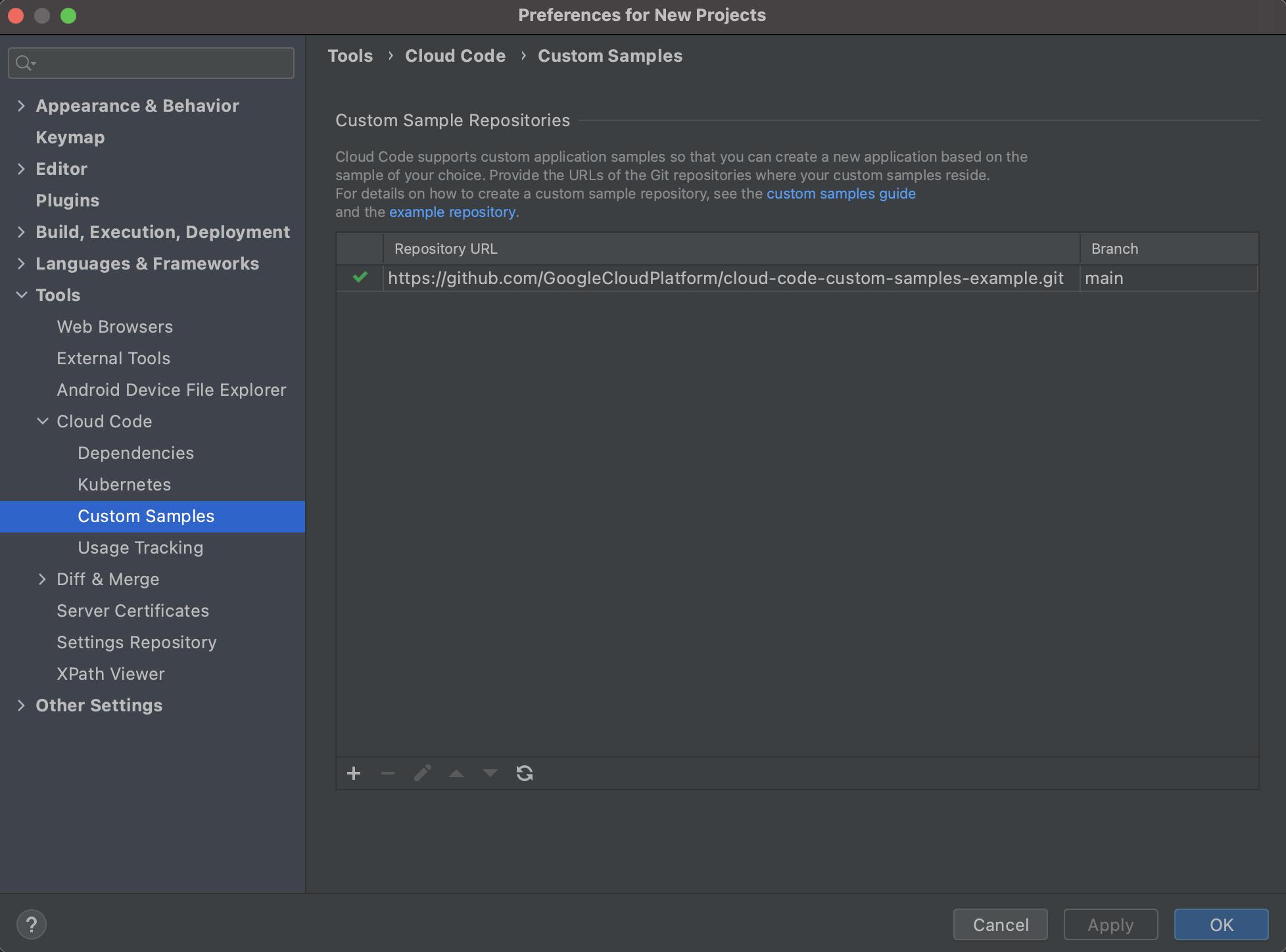 カスタム アプリケーション サンプル リポジトリのページには、新しく追加されたリポジトリが表内に表示され、その横に正常に追加されたことを表す緑色のチェックマークが付きます。