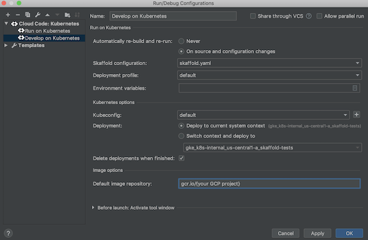 Specifying the default image repository in run target settings