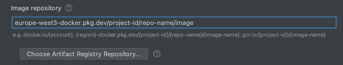 Configuración de ejecución y depuración abierta con campos de muestra (ID del proyecto y región) completados