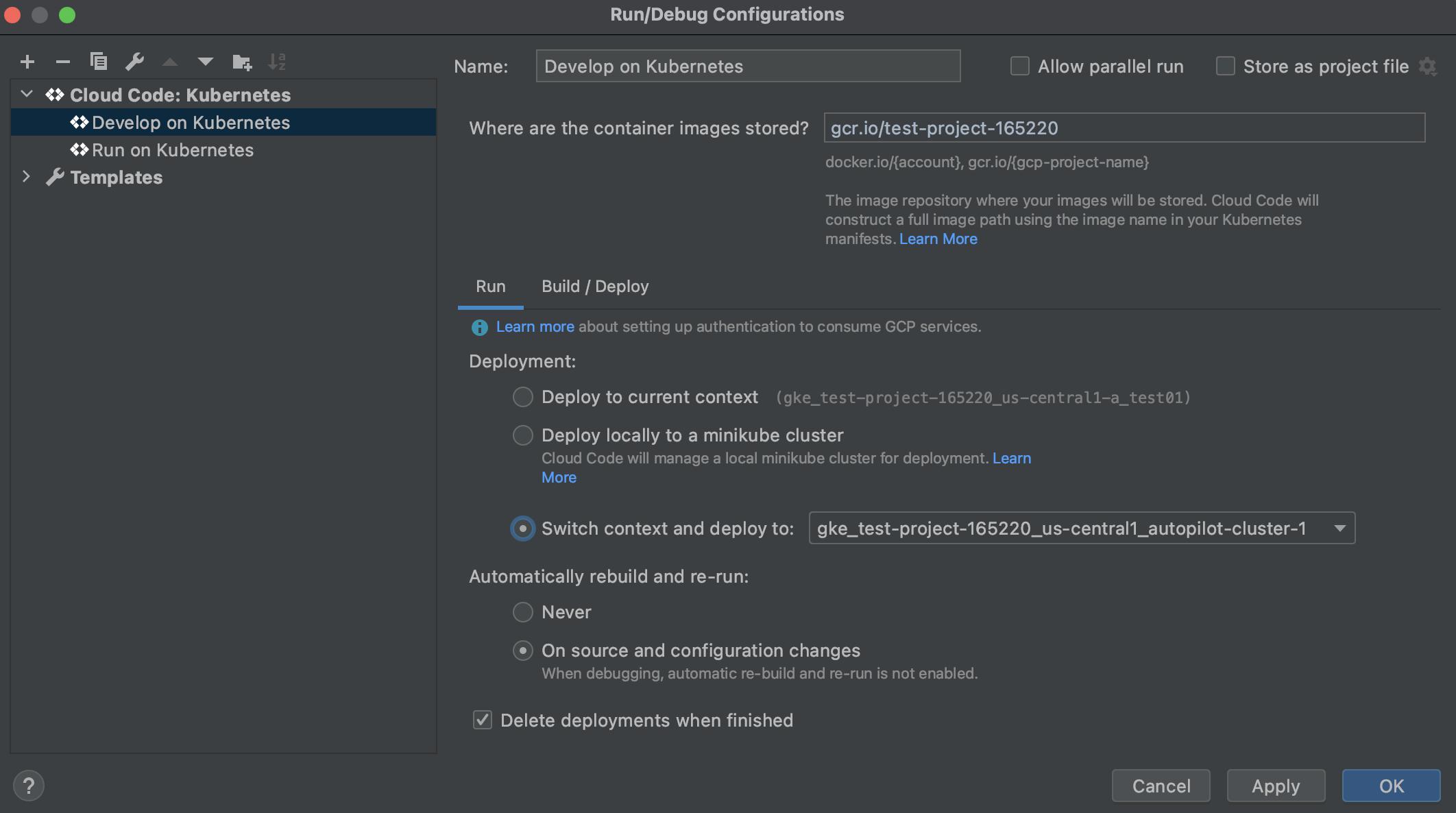 Cloud Code 実行構成での Kubernetes デプロイ コンテキストの選択。