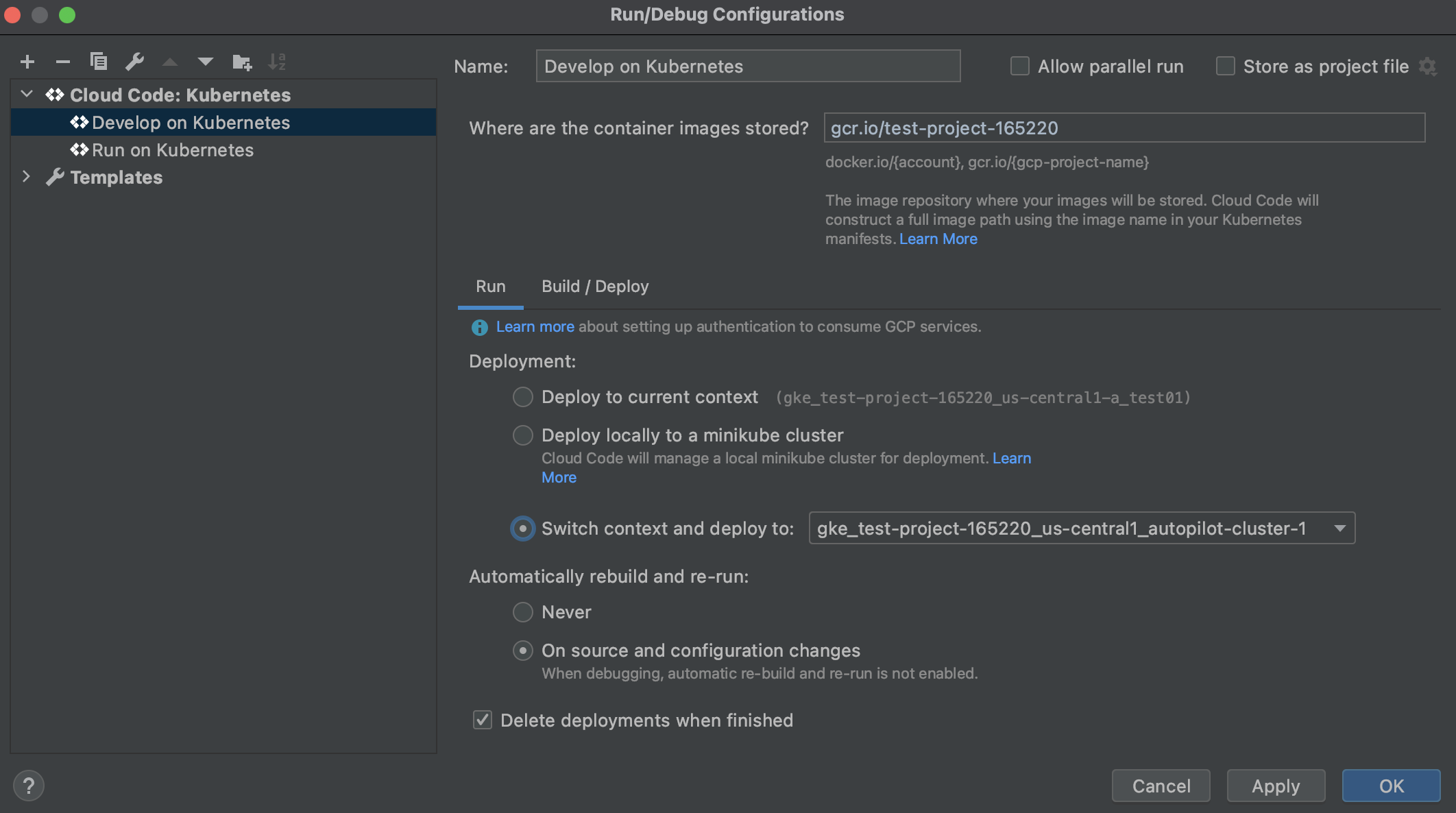 Selecting Kubernetes deployment context in a Cloud Code run configuration