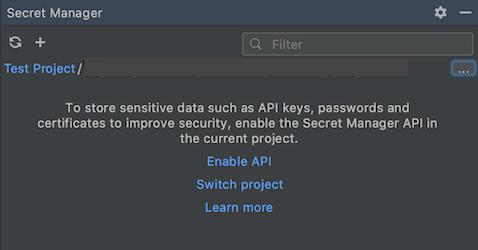 Ativar o link da API no painel Gerenciador de secrets