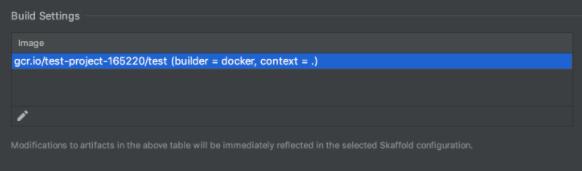 Build settings displayed in Build/Deploy tab