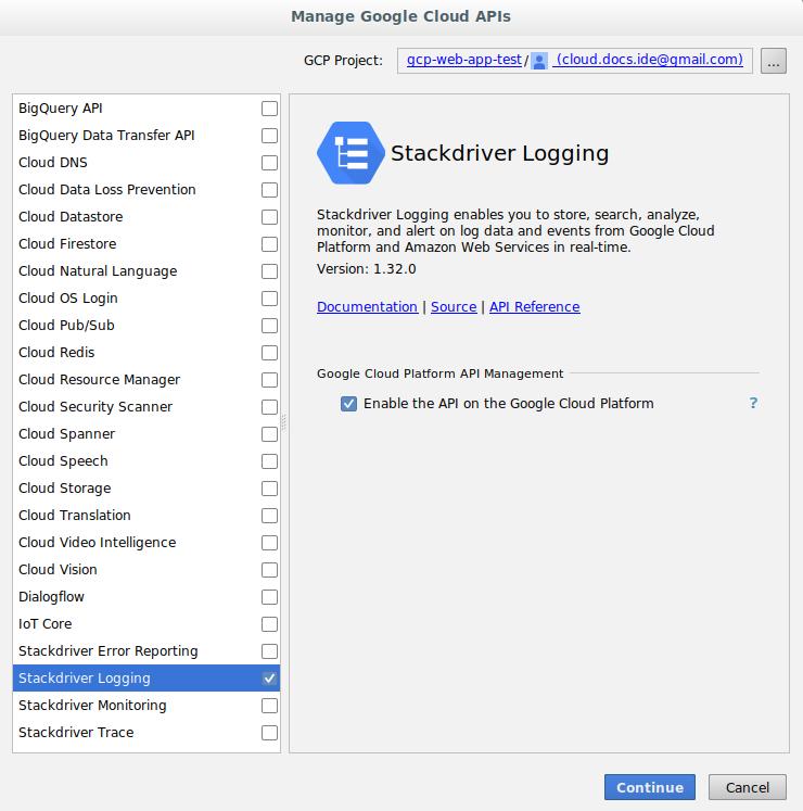 [Add Cloud Libraries] ダイアログのスクリーンショット。このダイアログは追加可能な API の一覧を表示することもできます。このダイアログの作業領域には、API に関する情報が表示されます。