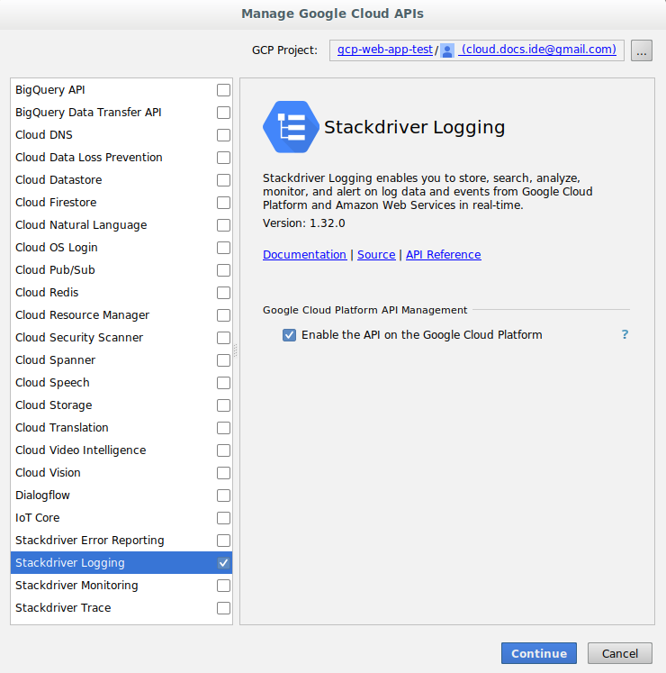 Screenshot showing the Add Cloud Libraries dialog. This                       dialog displays the list of APIs available to add and                       provides a work area that displays information about the                       API.