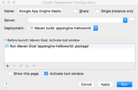 Screenshot showing the fields on the Create Deployment Configuration dialog.
