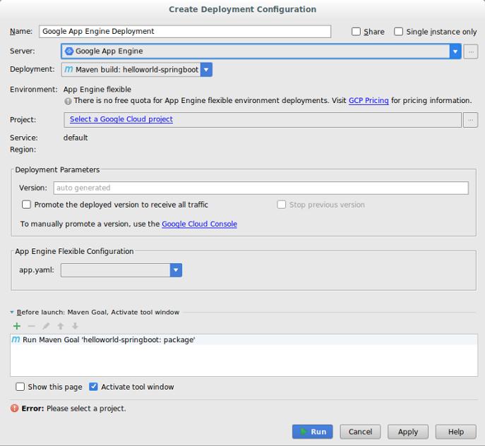 Cuadro de diálogo Crear la configuración de implementación Campos para Nombre, Servidor, Implementación, Proyecto, Versión y app.yaml