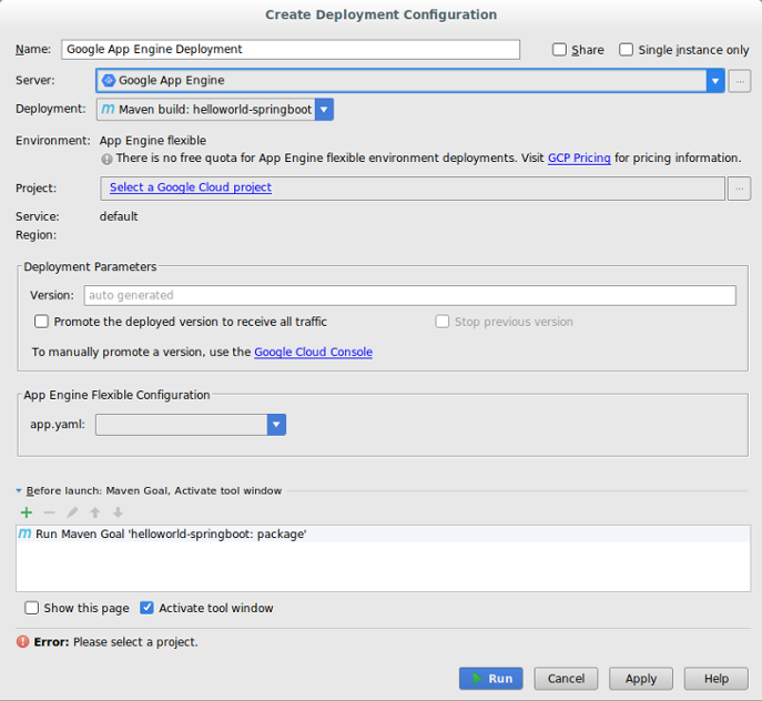 Create Deployment Configuration(배포 구성 만들기) 대화상자. Name(이름), Server(서버), Deployment(배포), Project(프로젝트), Version(버전), app.yaml 필드가 있습니다.