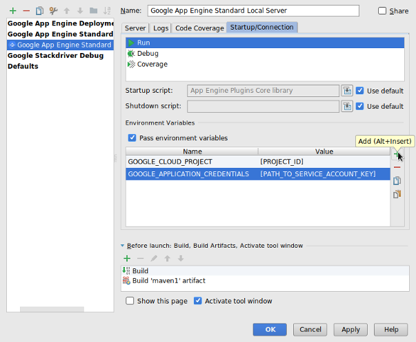 Screenshot showing the run/debug configuration dialog, with the focus on the environment variables for the local server.