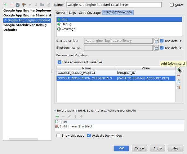 Captura de pantalla en la que se muestra el cuadro de diálogo Configuración de ejecución y depuración, en el que se pueden ver las variables de entorno para el servidor local