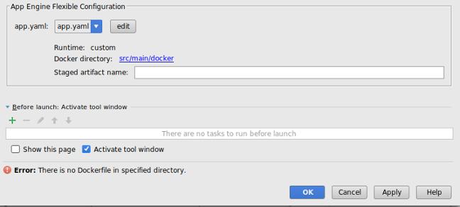 Create Deployment Configurations(배포 구성 만들기) 화면의 App Engine 가변형 구성 섹션을 보여주는 대화상자. 필드에 app.yaml 파일의 경로가 표시됩니다. 다른 파일을 선택할 수 있는 Edit(수정) 버튼이 있습니다. 라벨에 런타임이 custom(맞춤)으로 표시됩니다. 라벨에 Docker 파일의 경로가 표시됩니다. 스테이징된 아티팩트 이름 필드에 Docker 파일의 경로가 표시됩니다.
