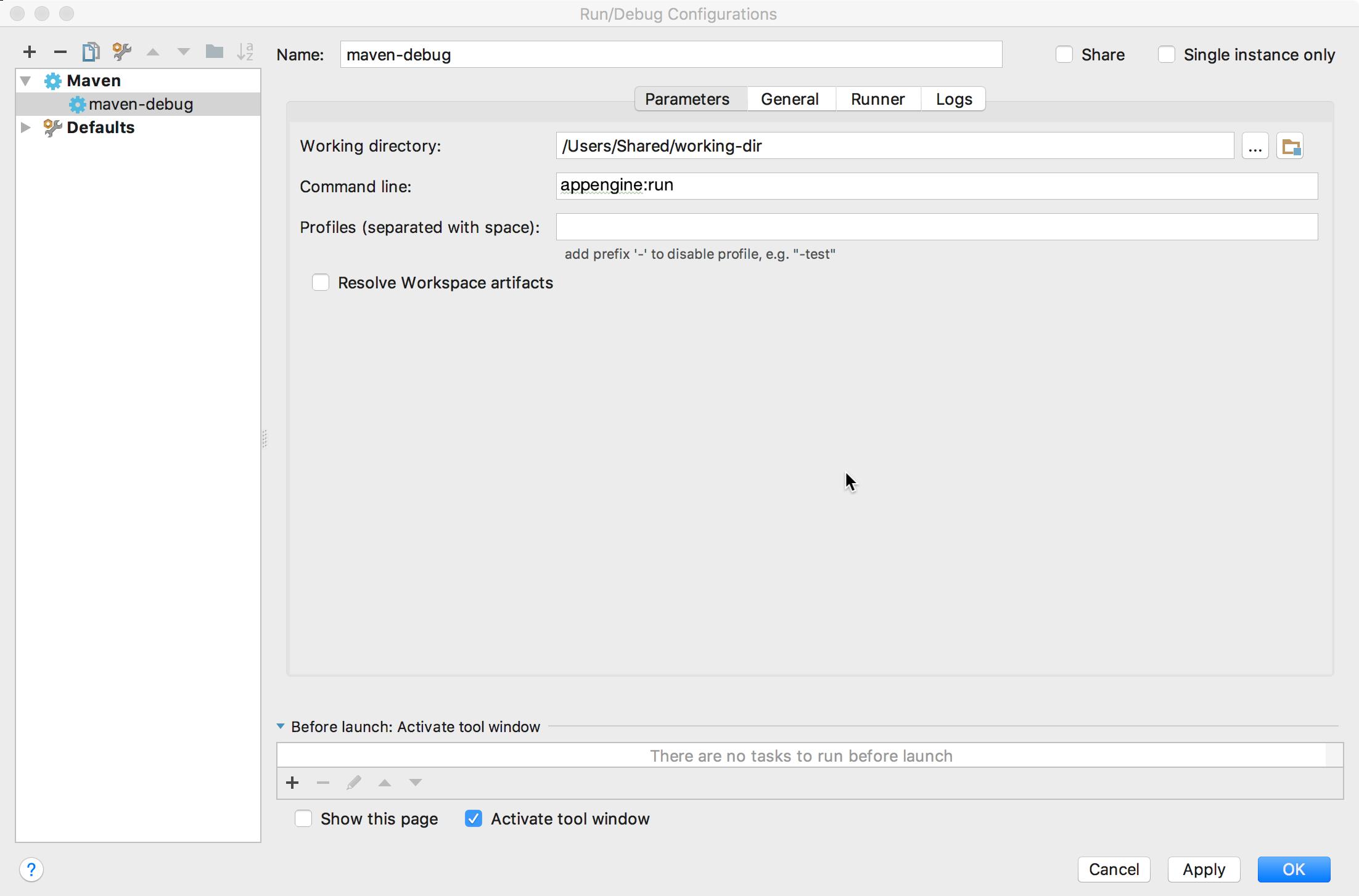 Capture d'écran montrant la boîte de dialogue Run/Debug Configurations (Configurations d'exécution/de débogage).